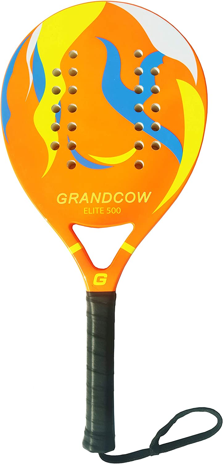 GRANDCOW Beach Paddle/Padel Tennis Racket Carbon Fiber Surface 30mm Depth EVA Memory Foam Core POP Tennis Paddle Rackets with Extra Long Handle