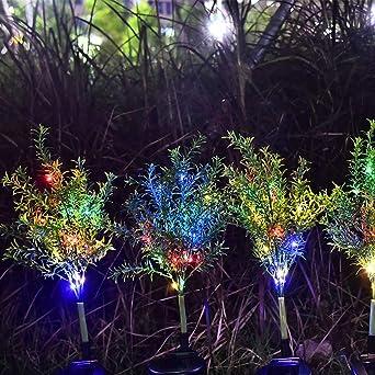 Guirnalda de luces LEEDY Árbol de 15 luces LED impermeable para jardín al aire libre, multicolor, árbol de hojas, luz solar: Amazon.es: Iluminación