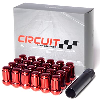 Circuit Performance Spline Drive Tuner Acorn Lug Nuts Red 12x1.5 Forged Steel (24pc + Tool): Automotive