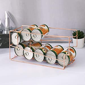 MyGift Modern Copper Tone Metal Wire Countertop or Pantry Can Holder Organizer Storage Dispenser Rack