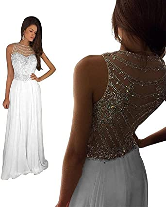 c3fff155e90d Still Waiting Women's Sparkly Crystal Prom Dresses Long 2018 Beading Chiffon  Evening Gowns Formal C023 at Amazon Women's Clothing store: