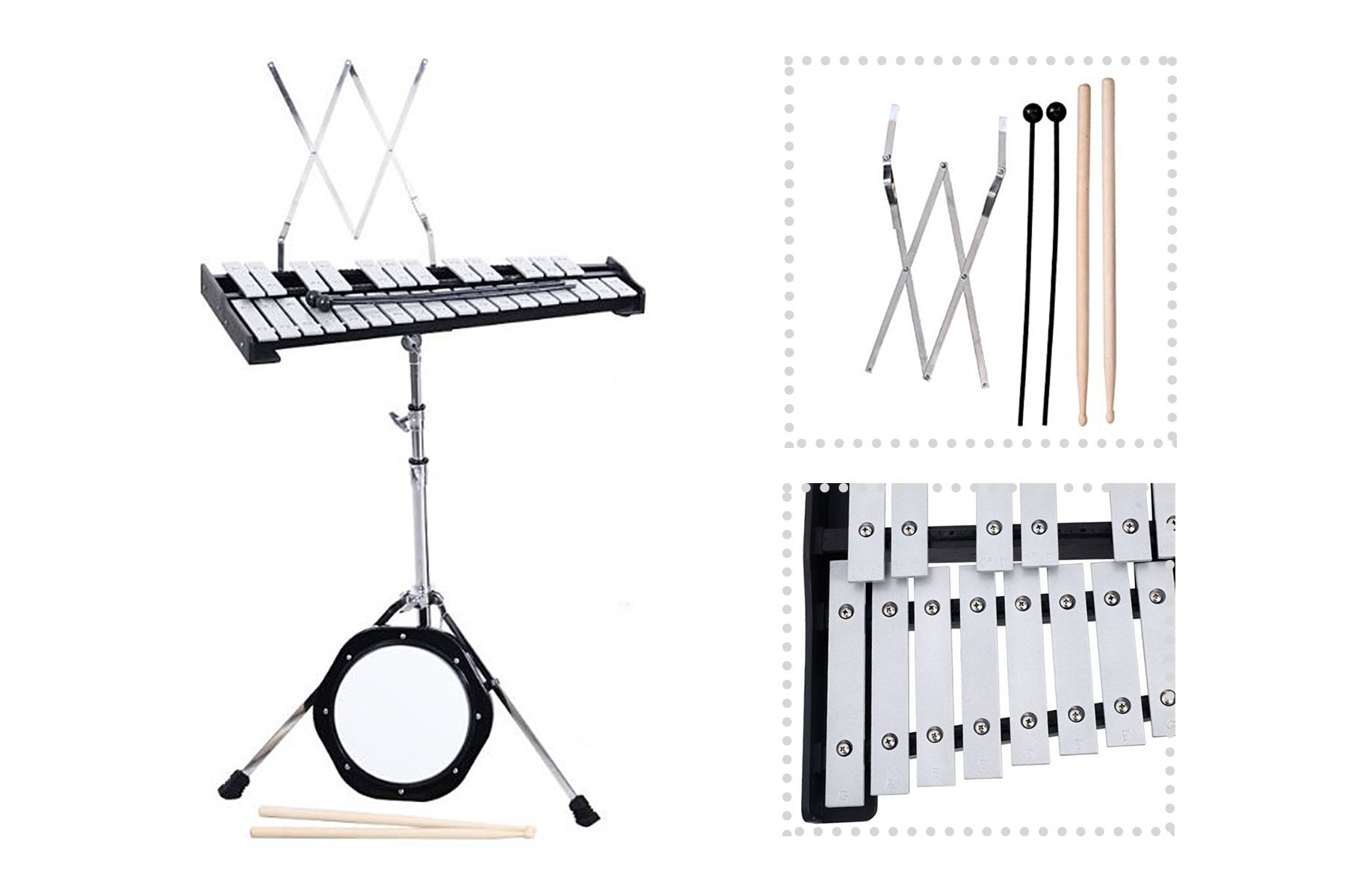 Glockenspiel Bell Percussion Kit With Mallets Practice Pad Stand Sticks 30 Notes + eBook