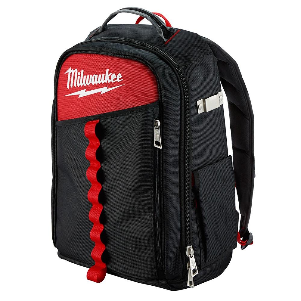 Milwaukee Low Profile Jobsite Backpack Made of 1680D Ballistic Material, Reinforced Base, with 22 Total Pockets, Sternum Strap and Tape Measure Clip, 5x more Durable and 2x MORE Padding