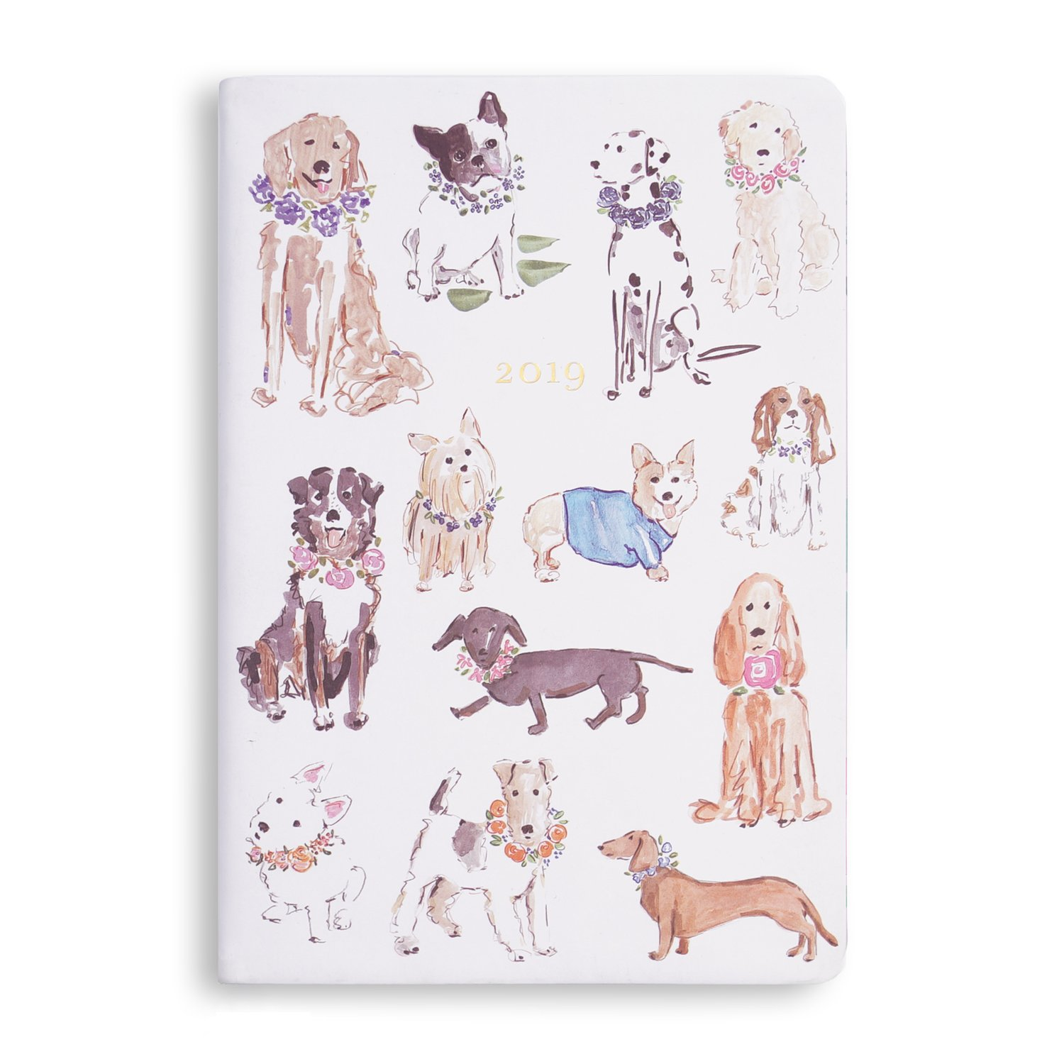 2018-2019 Eccolo Designer Parade of Dogs Flexible 18 Month Agenda Planner, Monthly & Weekly Views, 5.25 x 7.75