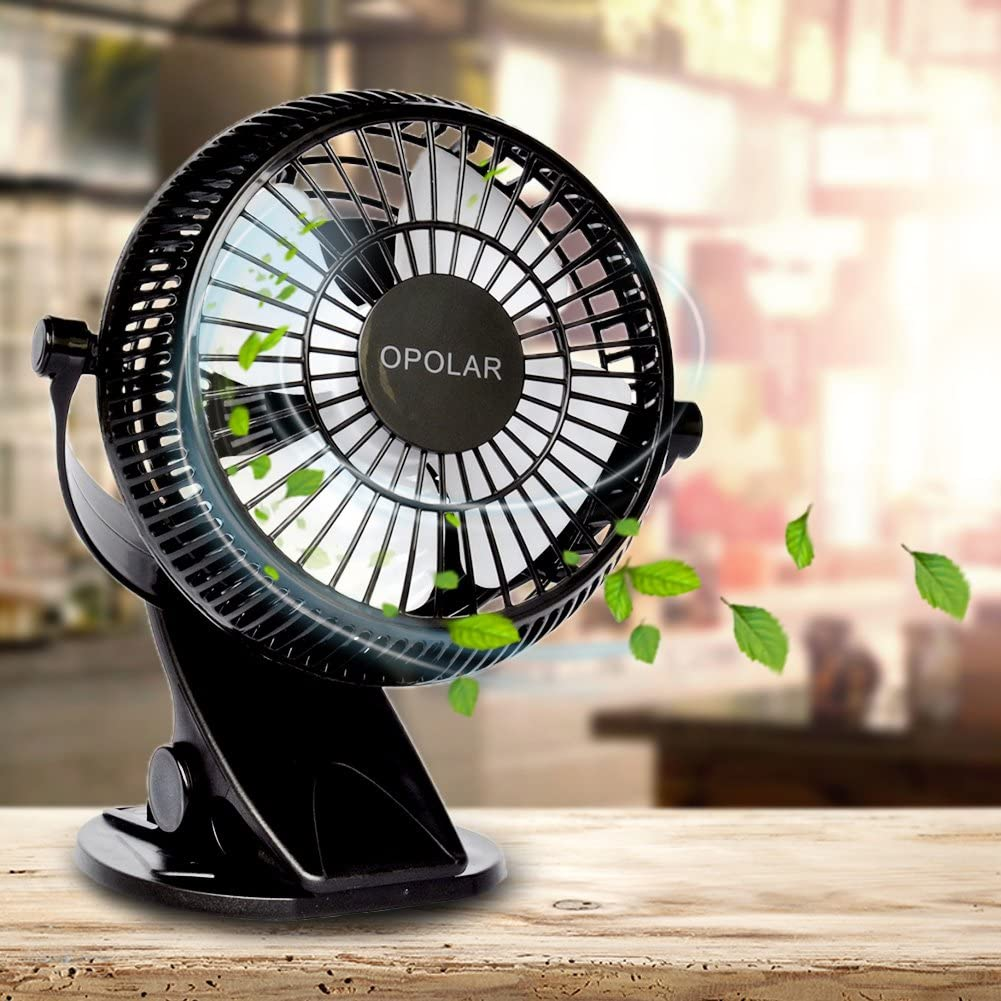 OPOLAR F801 Clip et Bureau Ventilateur Petit Ventilateur de Refroidissement Clip-on Fan 2 Vitesses Table Fan 2 en 1 Applications Noir Quiet Fan Fan Personnelle Aliment/é par USB Vent Fort