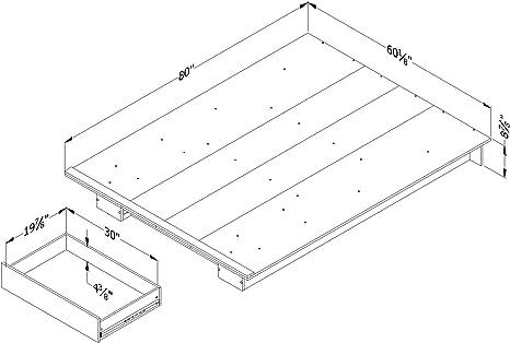 South Shore Furniture 12136 Kanagane 1-Drawer Platform Bed-Full//Queen-Soft Elm