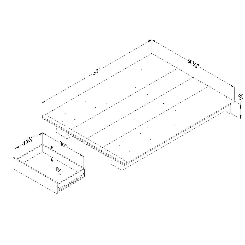 South Shore Furniture Kanagane 1-Drawer Platform Bed-Full//Queen-Pure White