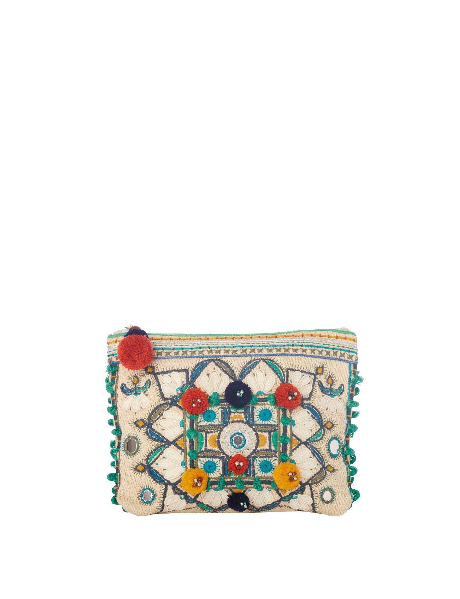 Star Mela Women's Manali Women's Ecru-Multicolor Purse 100% Cotton