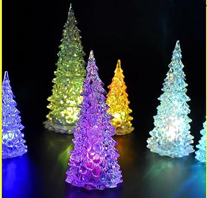 Global Tesco Mini White Pine Tree Christmas Mood Lamp Led Lights 4 Color Changing 3