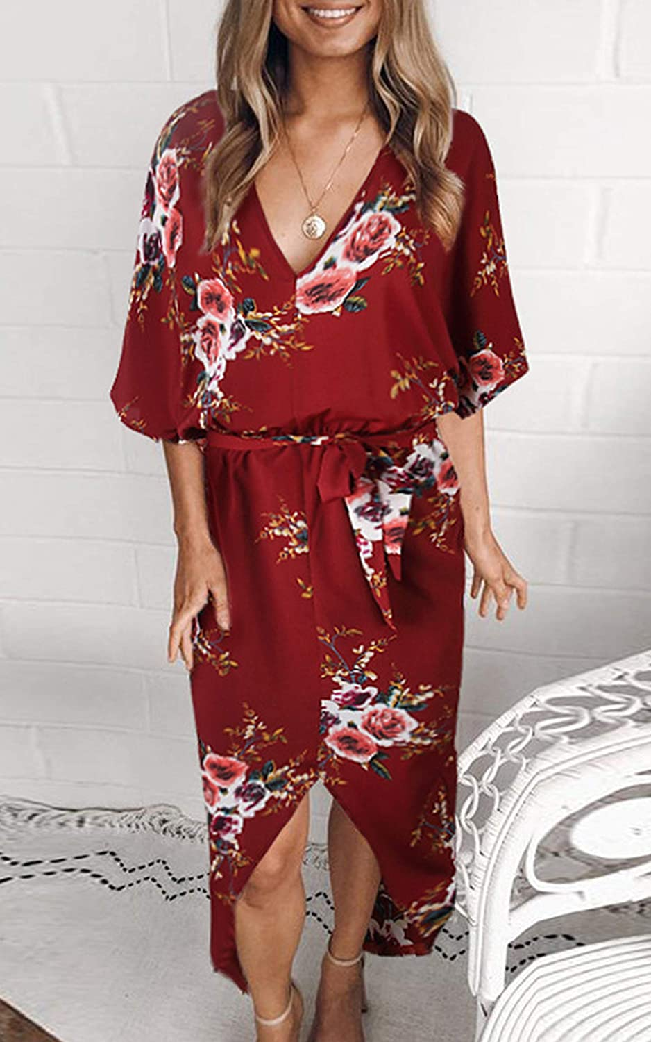 e44a319ca545 ECOWISH Womens Dresses Summer Casual V-Neck Floral Print Geometric Pattern  Belted Dress EH509 larger image