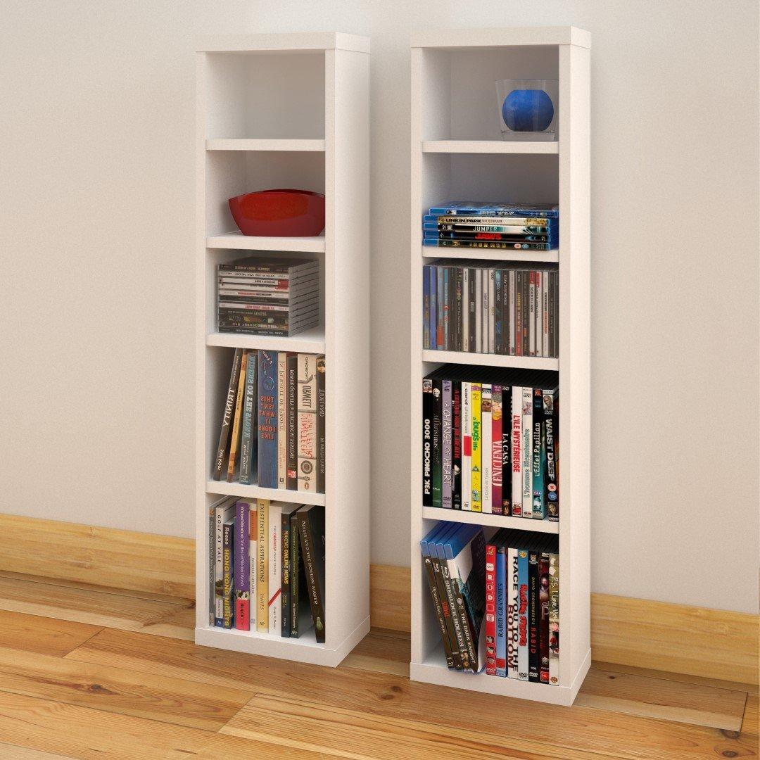 Cd Dvd Rack Part - 29: Amazon.com: Liber-T CD/DVD Towers (2) 211003 From Nexera, White: Home U0026  Kitchen