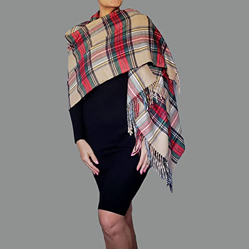 121e234515676 Amazon.com: Plaid Shawl Camel Flannel Poncho Soft Blanket Scarf Christmas  Wrap By ZiiCi: Handmade