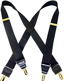 """product image for HoldUp Suspender Company's Extra Long 1.5"""" Wide All Black Suspenders in X-back style with Gold No-slip Clips"""
