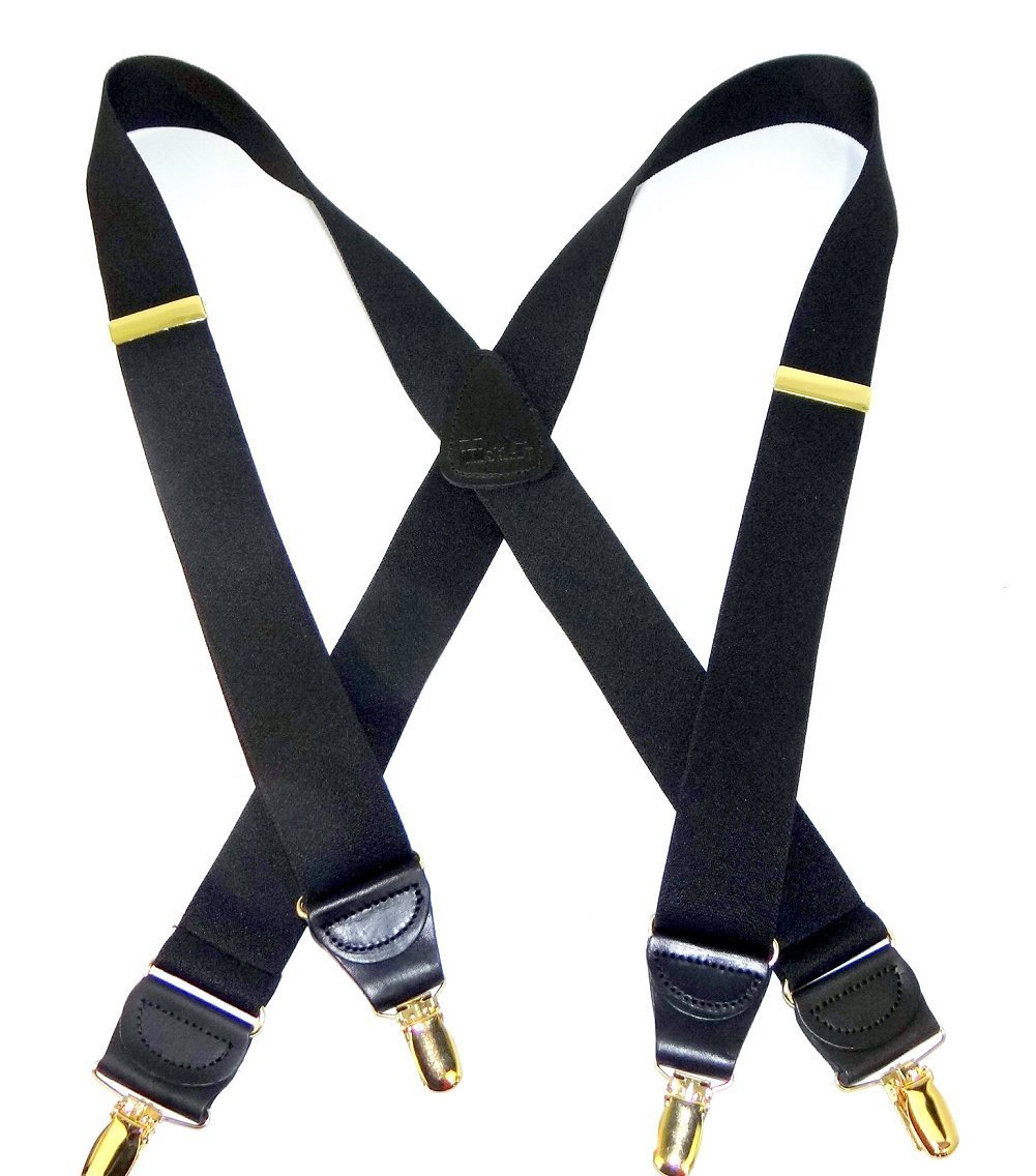 HoldUp Suspender Company's Extra Long 1.5'' Wide All Black Suspenders in X-back style with Gold No-slip Clips