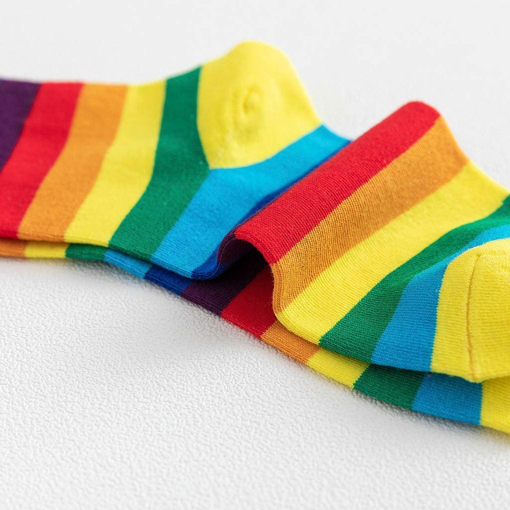 BPOF99 Womens Fashion Rainbow Striped Pile of Socks in The Tube Casual Cotton Socks Christmas Socks for Women Warm Under 5 Dollars