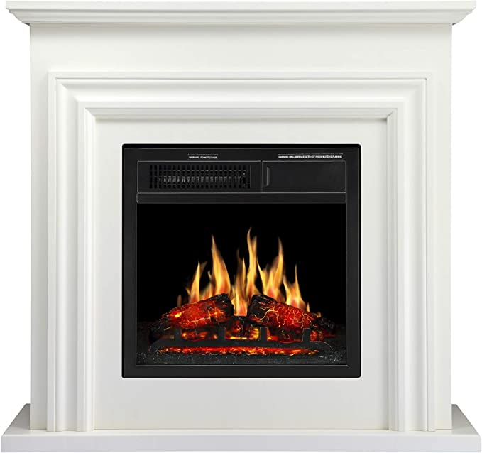Joy Pebble 36 Wood Electric Fireplace Mantel Package Freestanding Heater Corner Firebox With Log Hearth And Remote Control 750 1500w Ivory White Home Kitchen Zuiverlucht Fireplaces