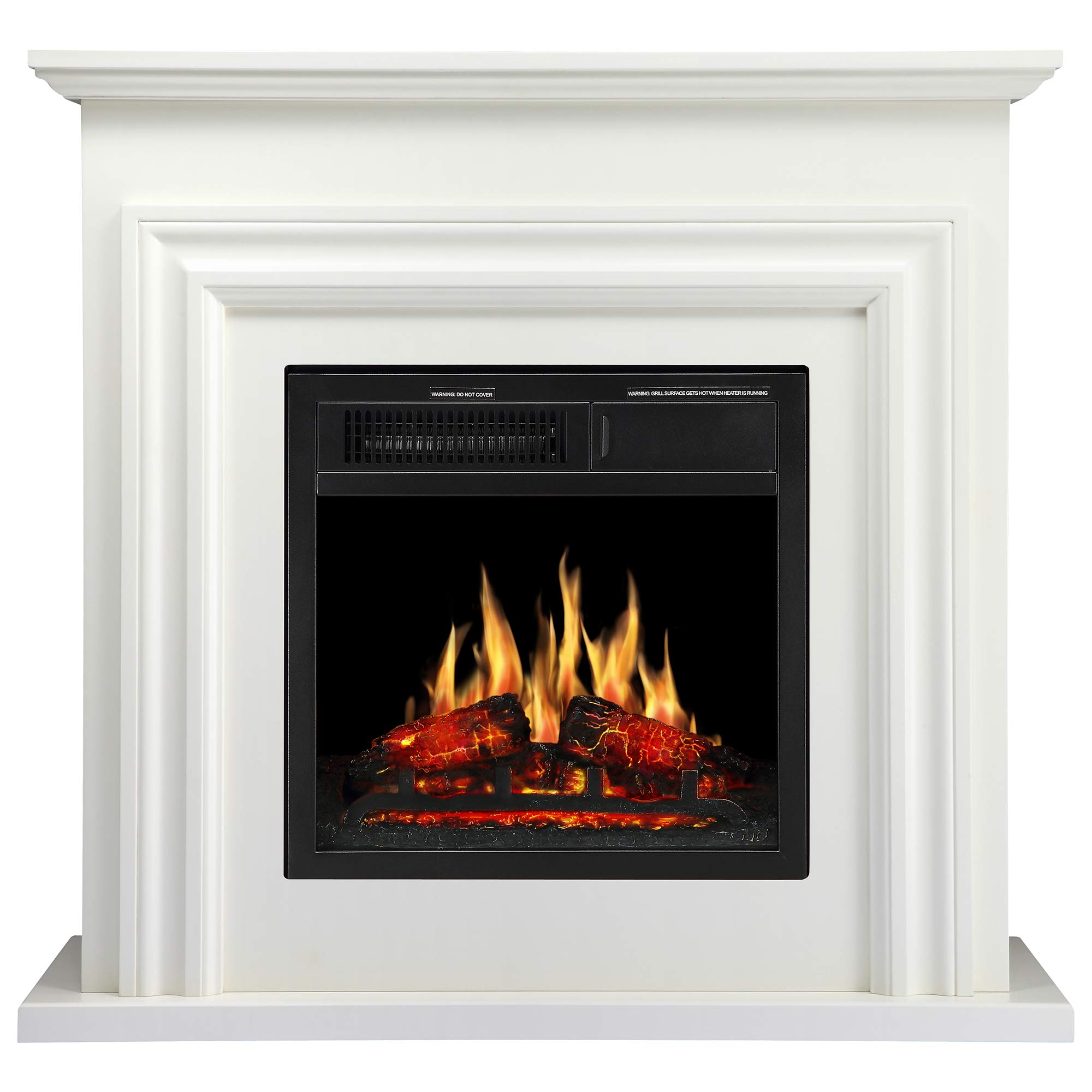JAMFLY 36'' Wood Electric Fireplace Mantel Package Freestanding Heater Corner Firebox with Log Hearth and Remote Control,750-1500W Ivory White Finish by JAMFLY