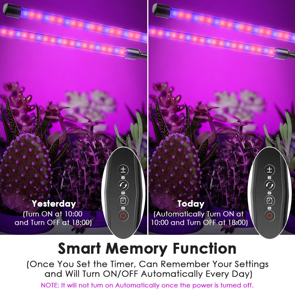 LOFTER Indoor LED Plant Lights, Small Grow Lights for Seedlings Dual Head LED Grow Lamp with Timer Plant Lights for Indoor Plants - 5 Dimming Levels by LOFTer (Image #4)