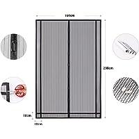 Sekey Rideau magnétique anti-insectes idéal pour porte de balcon, porte cave, porte de terrasse (découpable en hauteur et largeur) grâce au montage facile à coller - Noir - 230 x 160 cm