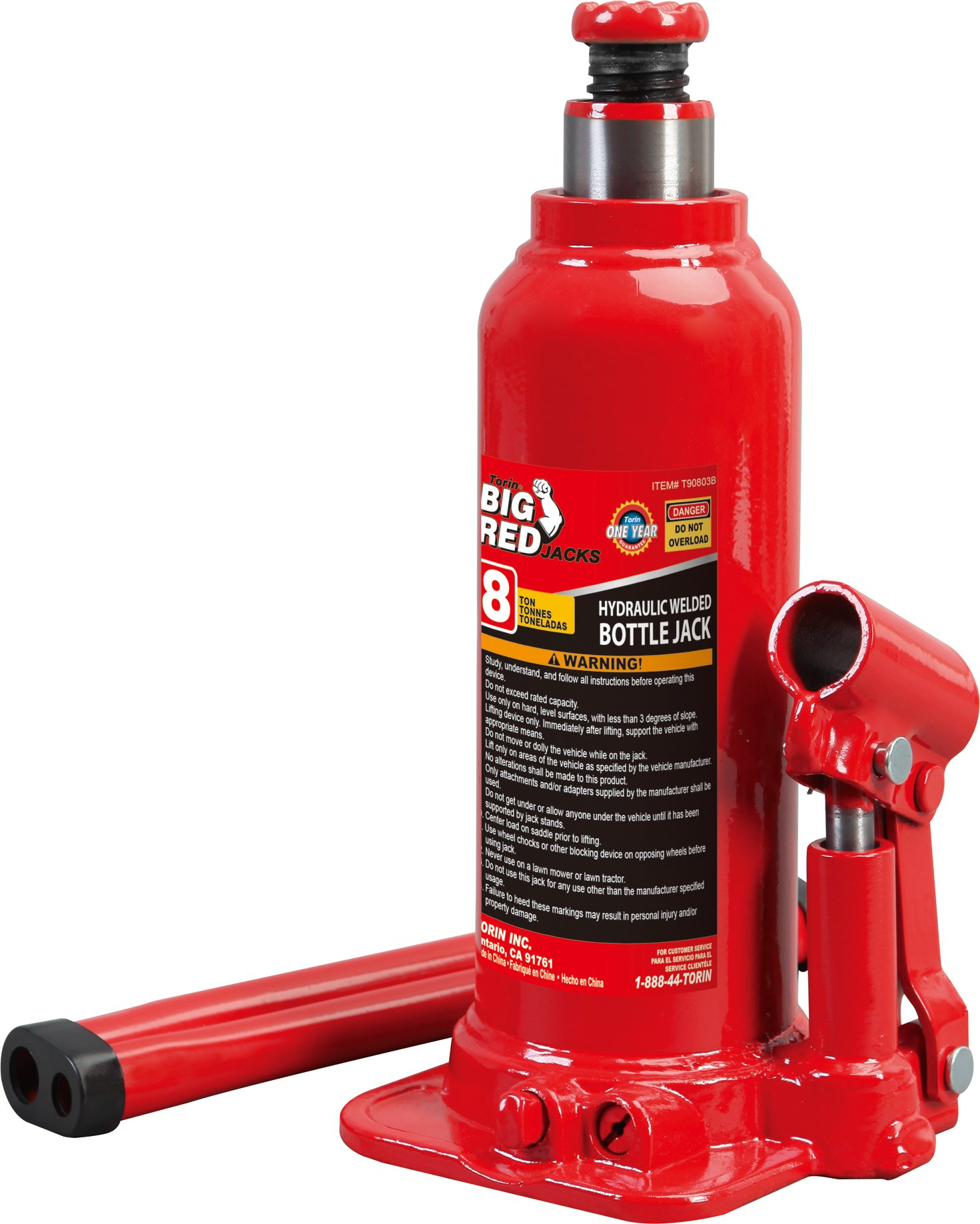 Torin Big Red Hydraulic Bottle Jack, 8 Ton Capacity