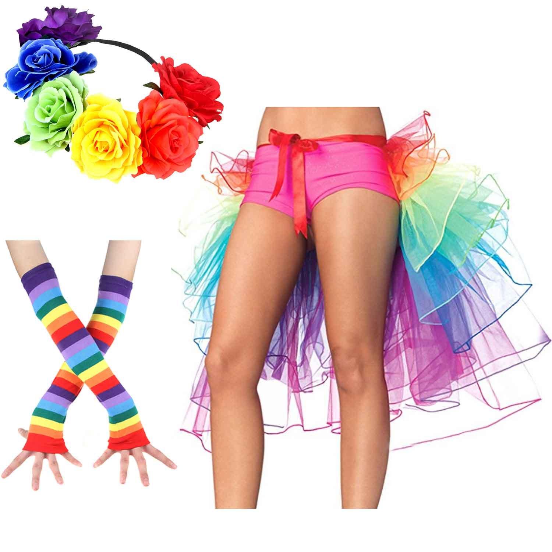 Women's Rainbow Wave Wig Long Gloves Socks 8Layered Tail Tutu Skirt Floral Headband Set (B) by ECOSCO (Image #1)