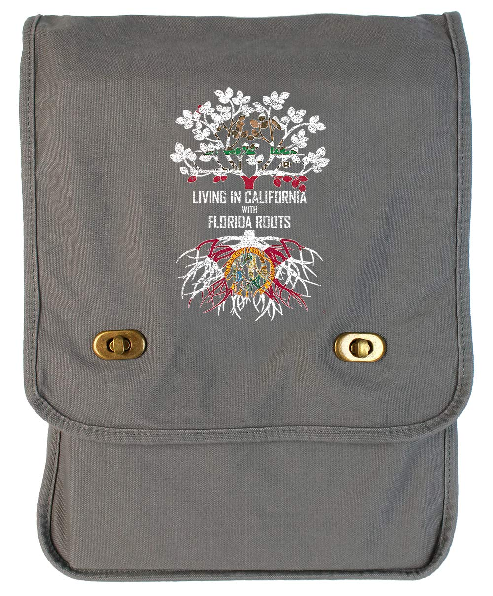 Tenacitee Living In California with Florida Roots Grey Brushed Canvas Messenger Bag