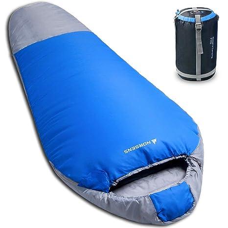 NORSENS Ultralight Ligero Compacto Saco de Dormir Momia para Acampada con el Mochila Senderismo & Actividades