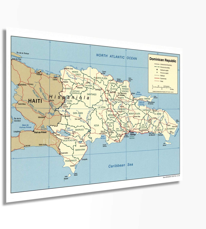 Historix 2004 Dominican Republic Map Poster - 18x24 Inch Dominican Republic Wall Art - Dominican Wall Decor - Dominican Poster - Dominican Republic Map Art - Dominican Wall Art (2 Size)