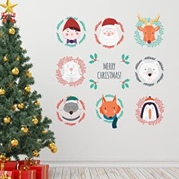 Cute Xmas WallpaperSikye Vinyl Merry Christmas Background Window Mural Decor Art For Living Room