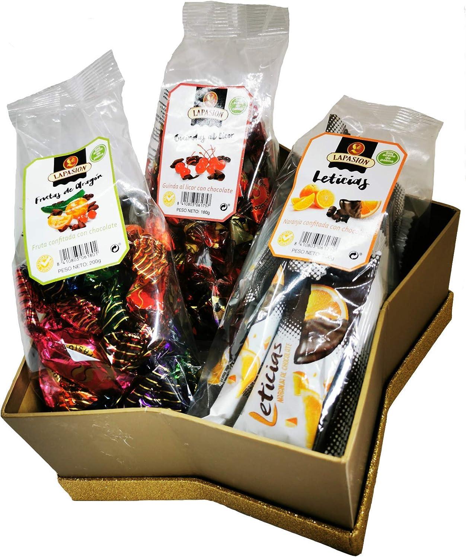 LAPASION - Lotes, cestas y regalos. Cesta mixta con Frutas de Aragón, Guindas al licor y Gajos de Naranja confitada con chocolate.: Amazon.es: Alimentación y bebidas