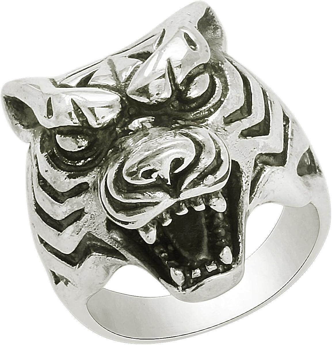 925 Sterling Silver Roaring wolf Head Skull Biker Ring For Boys