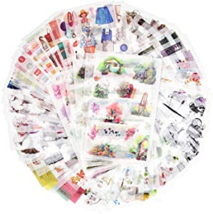 72 Sheets Scrapbooking Stickers Washi Paper Stickers Decoration Sticker Planner Stickers 12 Themes Assorted for Diary, Album, Journals, DIY Arts and Crafts (Secret Garden)
