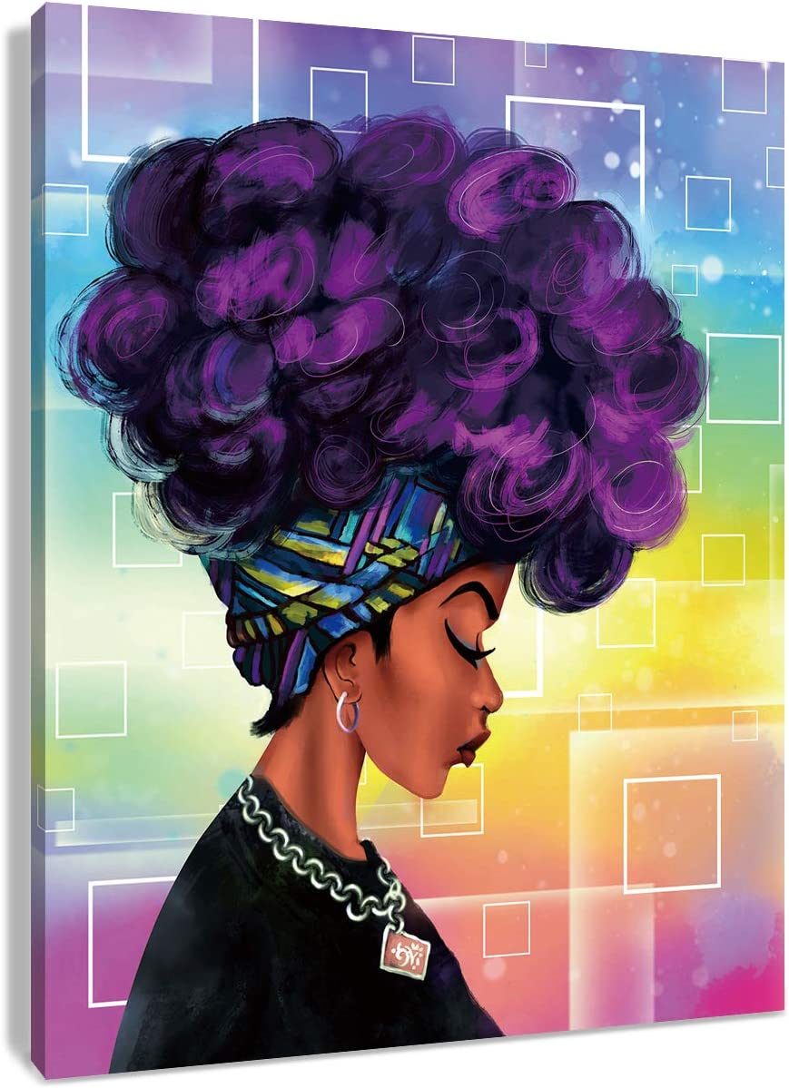 HVEST African American Canvas Wall Art Black Girl with Purple Afro Hair Artwork Hippie Paintings for Living Room Bedroom Bathroom Decor,Stretched and Framed Ready to Hang,12x16Inches