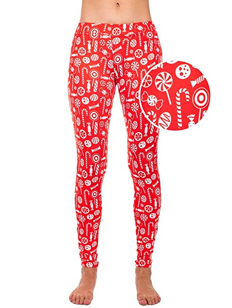 363cd4c5c07ca Tipsy Elves Women's Christmas Candy Treats Leggings Holiday Pants (X-Small)  Red