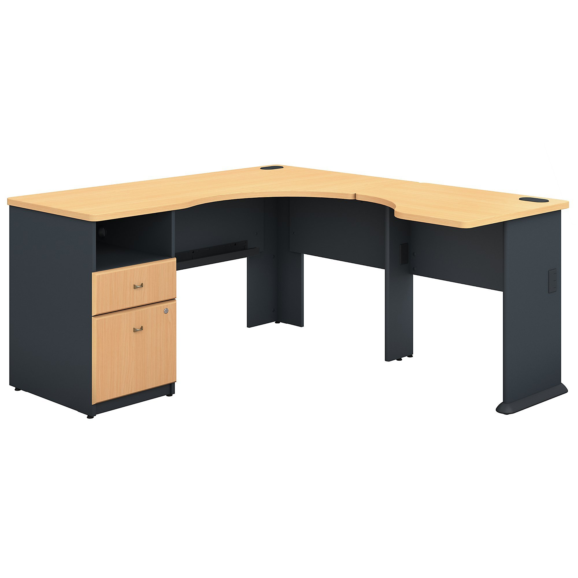 Bush Business Furniture Series A 60W L Shaped Corner Desk with 2 Drawer Pedestal and 30W Bridge in Beech and Slate