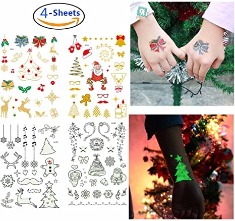 Navidad Luminoso Tatuajes impermeables Tatuajes falsos Navidad ...