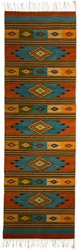 NOVICA Multicolor Wool Geometric Area Rug 2.5 x 10 , Azure Star