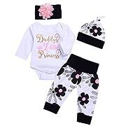 AlwaysFun Cute 4PCs Newborn Kids Baby Girl Daddy Little Princess Romper + Flowers Pants + Hat + Flower Headband Winter Outfit (White, 0-3Months) size tag:70