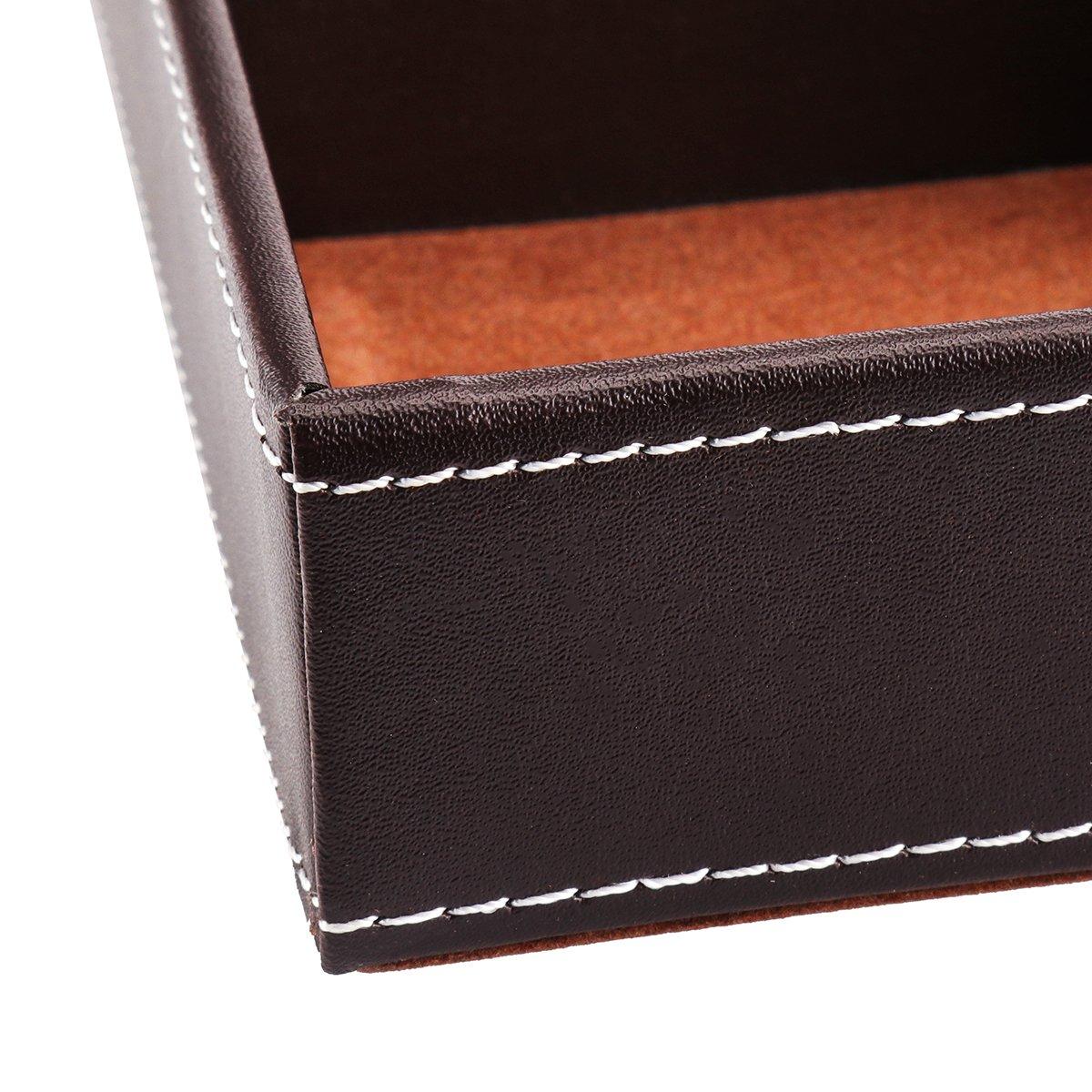 Tablett flache 4-slot Leder Kugelschreiber mit Halter Weiye Schubladen-Organizer Schublade Beh/älter/ Bleistift-Halter /12.00/X 8.26/1.69inches Fach Schreibtisch-Organizer aus Leder
