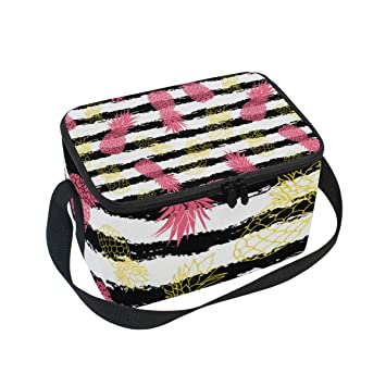 3fc888714128 Amazon.com: Pink Yellow Striped Pineapple Adult Lunch Box Lunch ...