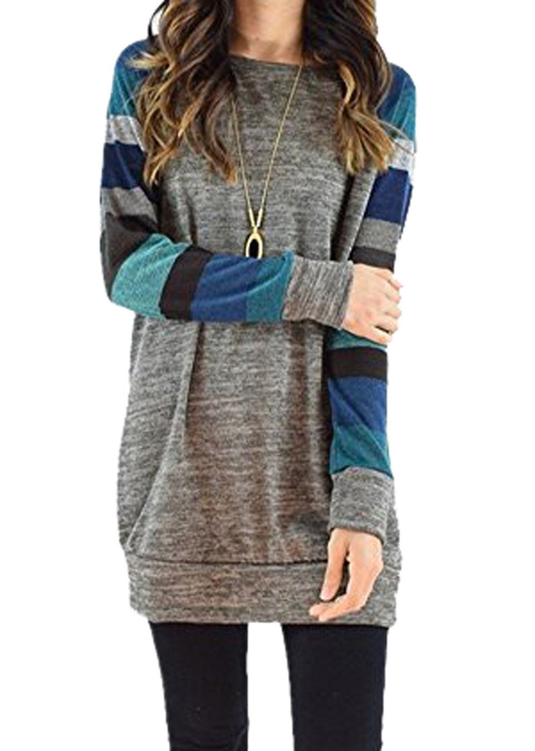 Tomlyws Womens Casual Cotton Knitted Stripes Blue Long Sleeve Lightweight Tunic Sweatshirt Tops Grey S
