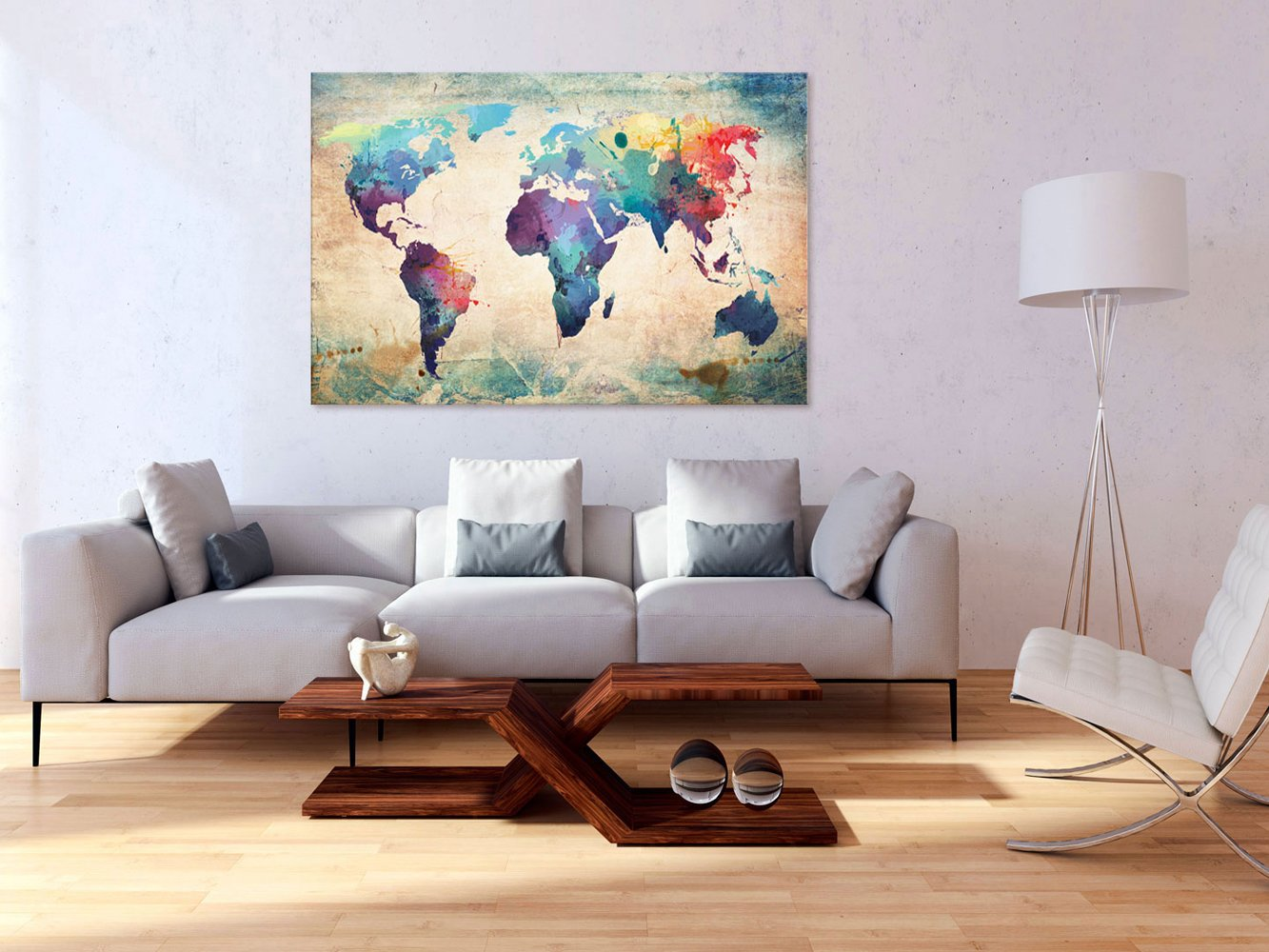 Kunstdruck modern Wandbilder XXL Wanddekoration Design Wand Bild Kontinent Landkarte Karte Reise k-B-0048-v-e Weltkarte Pinnwand /& Vlies Leinwandbild 135x90 cm murando 3 Teilig