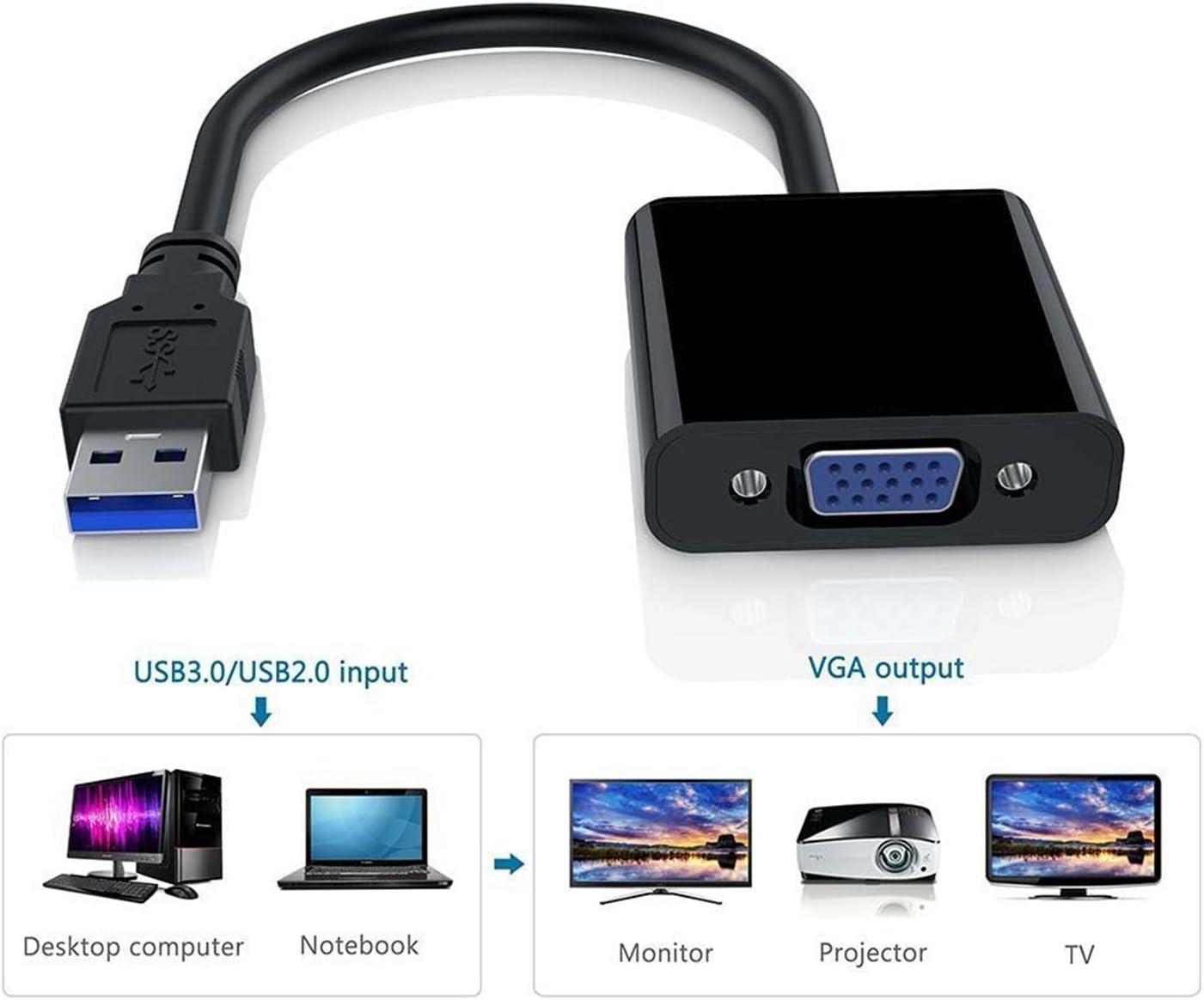 Negro REFURBISHHOUSE Premium USB 3.0 a convertidor de Adaptador VGA Full HD Tarjeta de Video Externa Adaptador de Monitor Multiple Adaptador USB a VGA Soporte MAX.