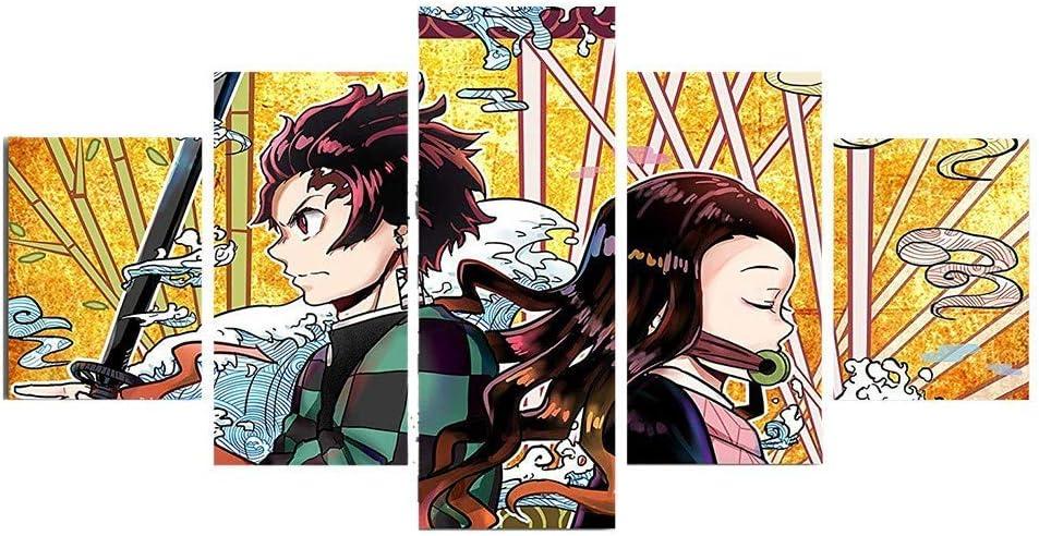 WeiHaoJian Anime Bild Wandkunst Demon Slayer 5 Panel Leinwand Druck f/ür Wohnzimmer Heim Dekor Galerie Kunst Anime Poster H03 Small