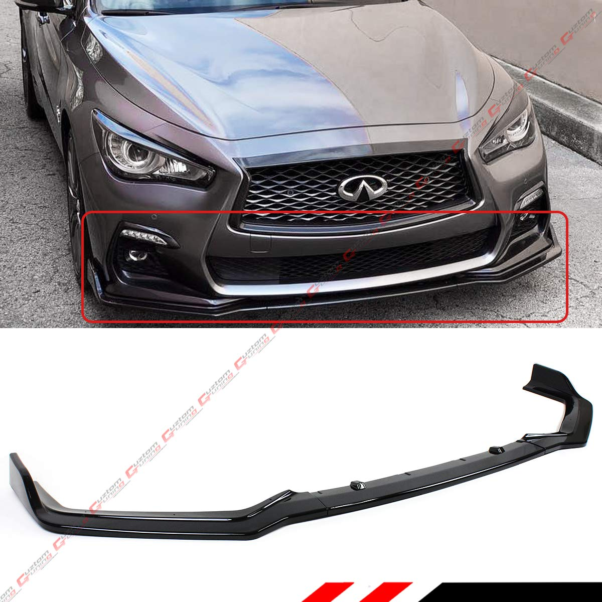 For Infiniti Q50 2014-2017 Gloss Black Front Bumper Lip Spoiler Cover Trim 3pcs