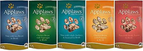 Applaws Grain Free Additive Free Cat Food 5 Flavor Variety Bundle, 2.47 Ounces Each 10 Pouches Total