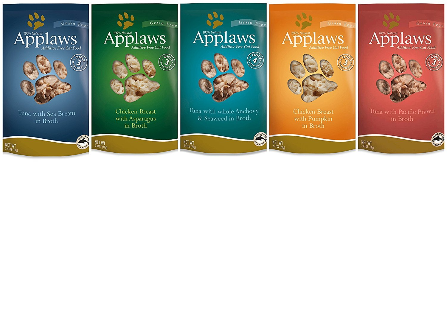 Applaws Grain Free Additive Free Cat Food 5 Flavor Variety Bundle, 2.47 Ounces Each (10 Pouches Total) by Applaws Wet Cat Food
