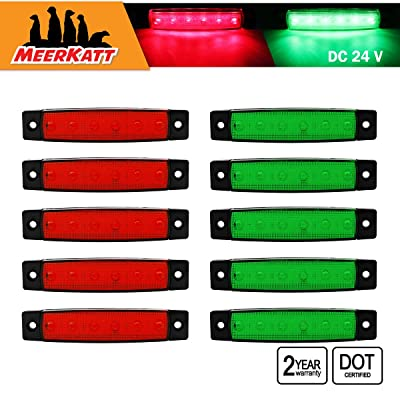 Meerkatt (Pack of 10) 3.8 Inch 5 Red & 5 Green 6 LED Side Indicator Marker Bright Waterproof Clearance Navigation Boat Lamp License Decoration Light Cars Truck Camper Lorry Trailer 24V DC Model TK24: Automotive