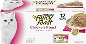 Purina Fancy Feast Grain Free Pate Wet Cat Food, Chicken Feast - (2 Packs of 12) 3 oz. Cans