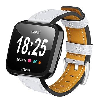 Aisports Bracelet de montre pour Fitbit Versa en Cuir souple - Accessoire Fitbit Versa Fitness,